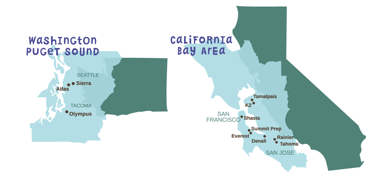Click the Summit Schools in Washington and California image to go to the Our Schools page